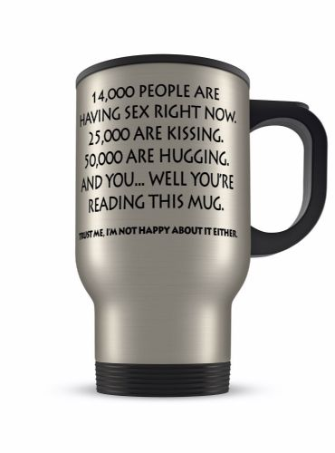 14oz Reading This Mug Rude Funny Novelty Gift Aluminium Travel Mug
